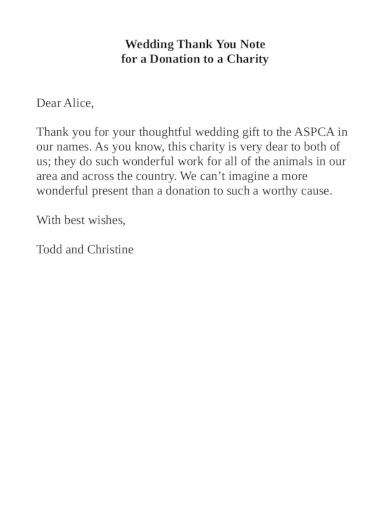 wedding thank you note for a donation to a charity