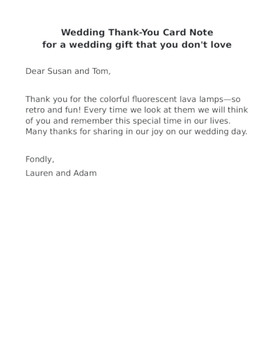 wedding thank you note for a gift that you don't like