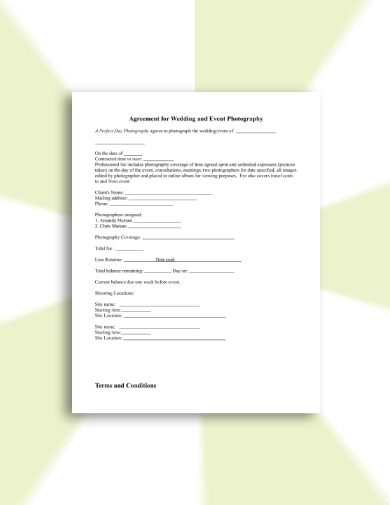 wedding and event photography contract
