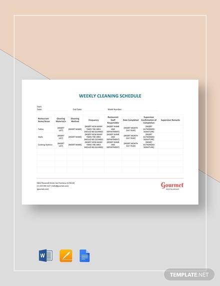 weekly cleaning schedule template1