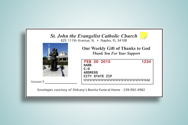 weekly mail offering church envelope