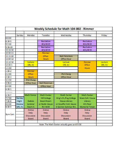 weekly maths schedule