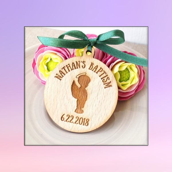 wooden baptism favor tag