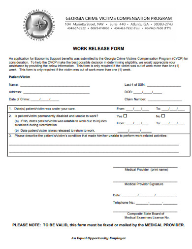 work release form example