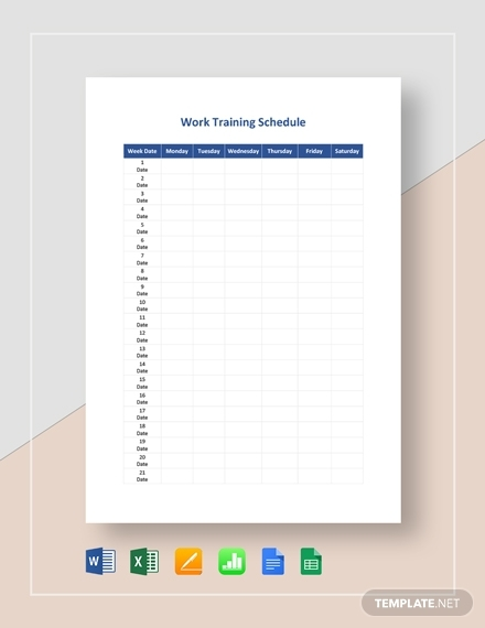 work training schedule template1