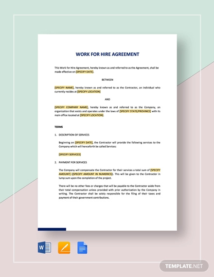 work for hire agreement template