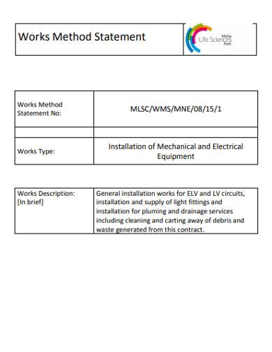 works method statement example