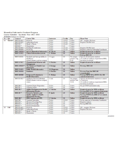 yearly course schedule