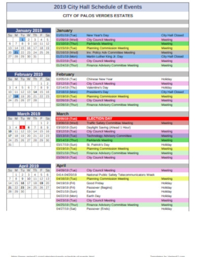 yearly schedule events of city hall