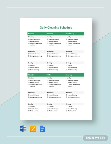 printable daily cleaning