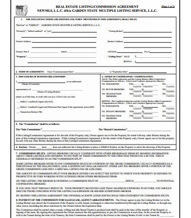 real estate brokerage commission agreement
