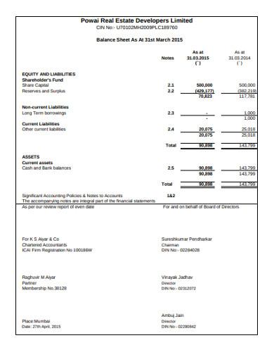 real estate developer balance sheet