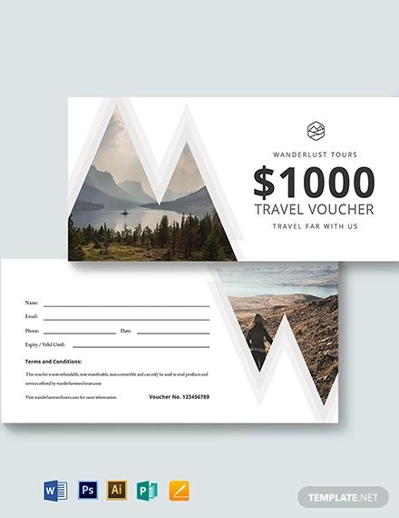 1000 travel voucher template