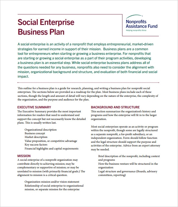 2 social enterprise plan