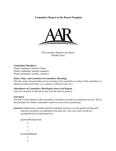aar committee board report