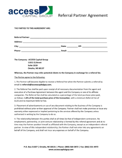 acg referral agreement page