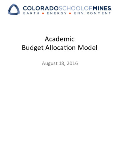 academic budget alloca6on model