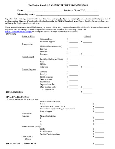 academic budget form