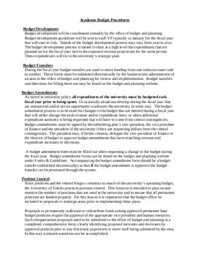 academic budget procedures