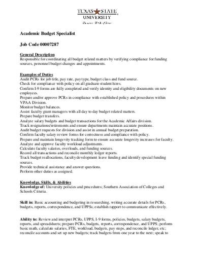 academic budget specialist