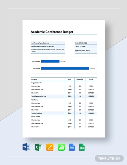 academic conference budget template