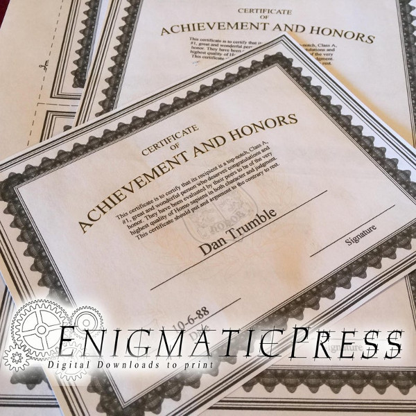 achievement event certificates