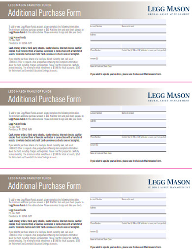 additional purchase form