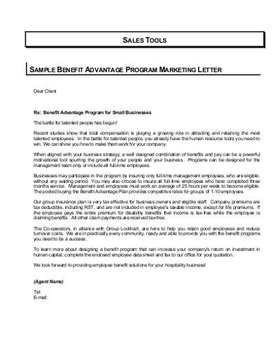 advantage programe marketig letter