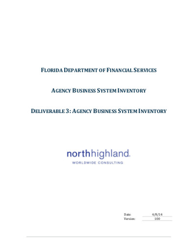 agency business system inventory