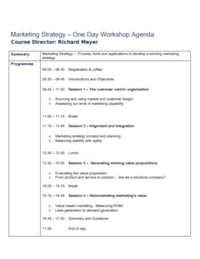 agenda marketing strategy workshop