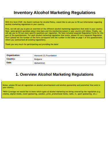 alcohol marketing inventory regulations