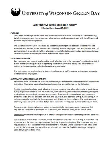 alternative work schedule policy