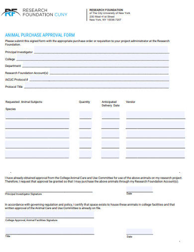 animal purchase approval form