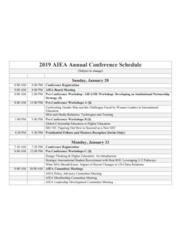 annual conference schedule
