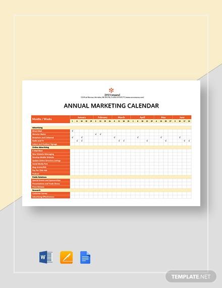 annual marketing calendar template