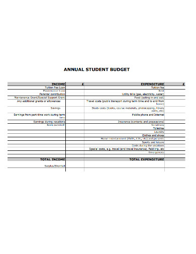 annual student budget