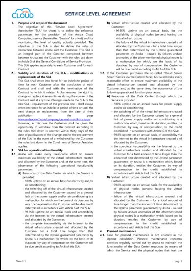 aruba cloud service level agreement