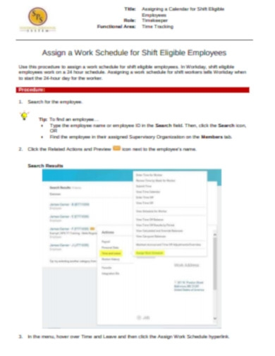 assign a work schedule to shift employees