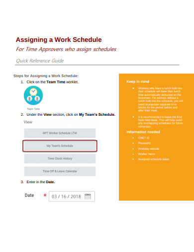assigning a work schedule