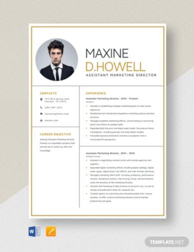 assistant marketing director resume