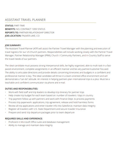 assistant travel planner