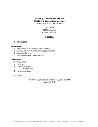association marketing committee meeting agenda