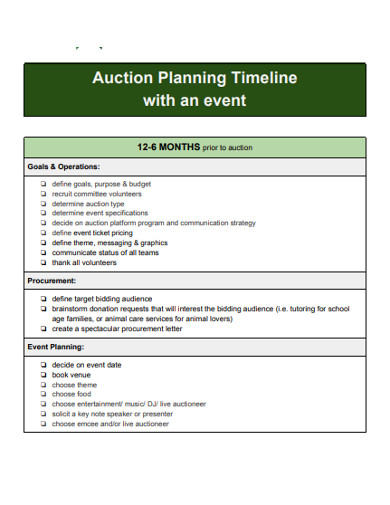 auction planning timeline with an event