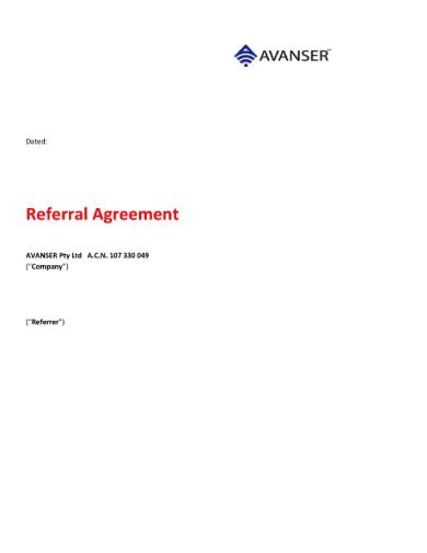 avanser referral agreement