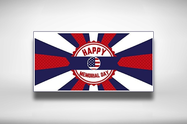 badge with flag memorial day party banner