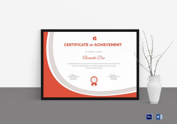 badminton certificate of achievement