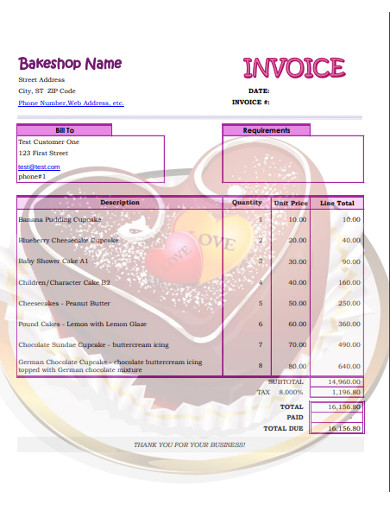 bake shop invoice