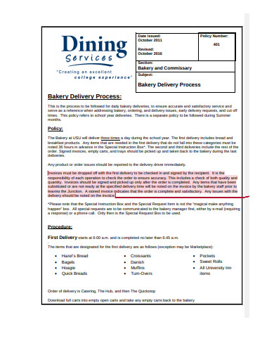 bakery delivery invoice