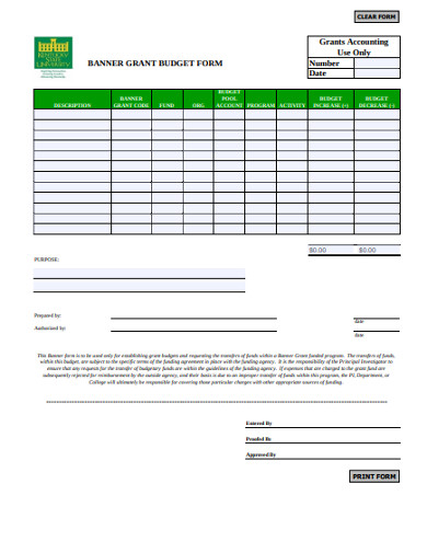 banner grant budget form