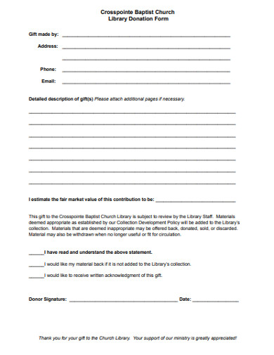 baptist church donation form